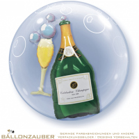 Folienballon Double Bubble Sektflasche + Glas transparent bunt 56cm = 22inch