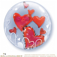 Folienballon Double Bubble Floating Hearts transparent rot 56cm = 22inch