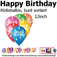 10 St. Motivballon Happy Birthday Ballon bunt sortiert
