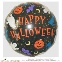 Folienballon Rund Happy Halloween bunt Sonderangebot 45cm = 18inch Ballon