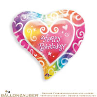 Folienballon Herz Happy Birthday bunt metallic 45cm = 18inch