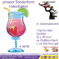 Cocktail Glas bunt 89cm = 35inch Folienballon Party Deko Ballon Luftballon