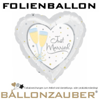 Folienballon Herz Just Married Silber 45cm = 18inch