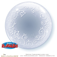 Folienballon Decobubble Fancy Filigree Swirls transparent 61cm = 24inch Ballon