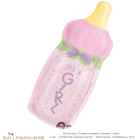Folienballon Babyflasche its a Girl rosa metallic 86cm = 34inch