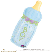 Folienballon Babyflasche its a Boy blau metallic 86cm = 34inch