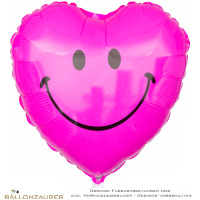 Folienballon Smiley Herz pink 53cm = 21inch Ballon Luftballon