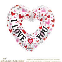 Folienballon Herz offen I Love You Bunt Metallic 92cm = 36inch