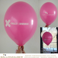 100 Latexballons Rund Finally Divorce magenta weiß Ø30cm Umf. 95/105cm inch