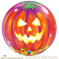Folienballon Bubble Jack O Lantern Bunt Transparent 56cm = 22inch