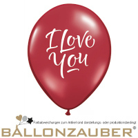 Latexballon Rund I Love You Rot, Weiß Ø28cm = 11inch Umf. 85cm