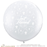 Latexballon Rund Riesenballon Just Married Roses transparent Ø90cm Umf. 245cm 36inch Ballon