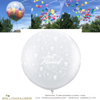 explodierender Latexballon Rund Effektballon Riesenballon Just married Roses transparent Ø90cm Umf. 245cm 36inch