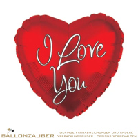 Folienballon Herz I Love You Rot Weiß metallic 45cm = 18inch