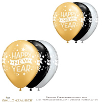 Latexballon Happy New Year schwarz gold silber Ø28cm Umf. 95/105cm 11inch Ballon