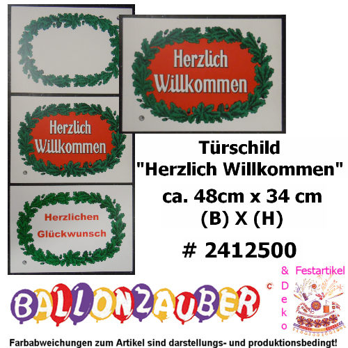 schild t rschild herzlich willkommen lorbeerkranz retro ebay. Black Bedroom Furniture Sets. Home Design Ideas