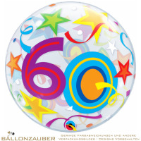 Folienballon Bubble 60 Brilliant Stars Bunt Transparent 56cm = 22inch