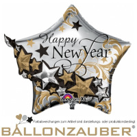 Folienballon Stern 3D Happy New Year gold silber metallic 67cm = 26inch Ballon