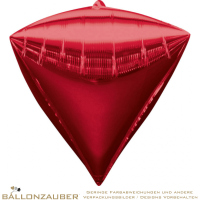 Folienballon Diamondz Rot Metallic 38cm = 15inch