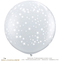 Latexballon Rund Riesenballon Stars Around transparent Ø90cm Umf. 245cm 36inch