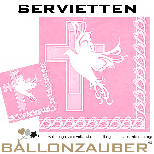 Servietten taube und kreuz taufe konfirmation kommunion - Servietten dekoration ...