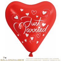 1 Latexballon Herz Just Married rot Ø30cm Ballon Luftballon