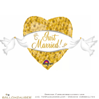 Folienballon Herz und Tauben Just Married! weiß gold metallic 104cm = 41inch
