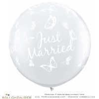 Latexballon Rund Riesenballon Just Married Schmetterling transparent Ø90cm Umf. 245cm 36inch