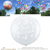 explodierender Latexballon Rund Effektballon Riesenballon Just married Schmetterling transparent Ø90cm Umf. 245cm 36inch