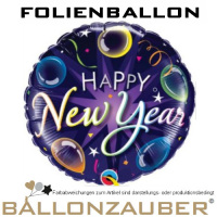 Folienballon Happy New Year Rund bunt colourful 45cm = 18inch Silvester Ballon