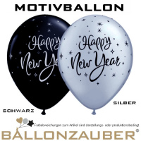 Latexballon Happy New Year Rund schwarz silber Ø28cm Umf. 85/95cm 11inch Ballon