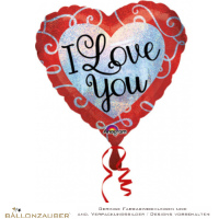 Folienballon Herz I love you bunt holographic 45cm = 18inch Ballon