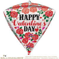Folienballon Diamondz Happy Valentines Day Bunt 38cm = 15inch Ballon Luftballon
