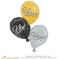 Folienballon Traube Happy New Year schwarz silber gold holographic 90cm = 35inch