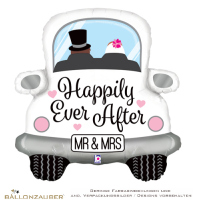 Folienballon Hochzeitsauto Happily Ever After Mr & Mrs bunt metallic 79cm = 31inch