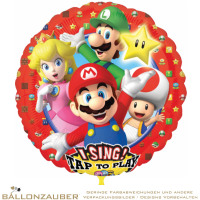 Folienballon Rund Musikballon Super Mario Brother bunt 72cm = 28inch