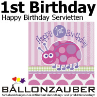 Servietten Happy 1st Birthday Mädchen Ladybug Käfer Geburtstag Party Dekoration