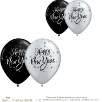Latexballon New Year Sparkle schwarz silber metallic Ø28cm Umf. 95/105cm 11inch
