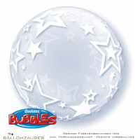 Folienballon Decobubble Stylisch Stars transparent 61cm = 24inch Ballon Luftballon