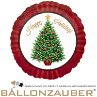 Folienballon Happy Holiday Christmas Tree Rund bunt 11cm = 4inch