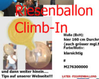 Latexballon Einsteigeballon Climb In Blau Transparent Ø160cm Umf. 450cm