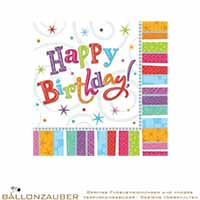 Servietten 16 Stk. Quadratisch Happy Birthday Bunt
