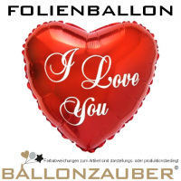Folienballon Herz I Love you rot 45cm = 18inch Ballon Luftballon