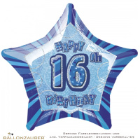 Folienballon Stern Happy 16th Birthday blau prismatic 50cm = 20inch Ballon