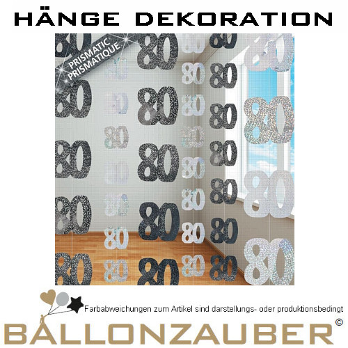 H nge dekoration zahl 80 string deko geburtstag party ebay for Dekoration 80 geburtstag