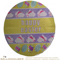 Folienballon Rund Happy Easter bunt 45cm = 18inch Ballon Luftballon
