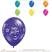 Latexballon Happy New Year bunt sortiert kristall Ø28cm Umf. 95/105cm 11inch