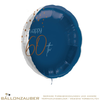 Folienballon Rund Happy 60th Elegant True Blue Metallic 45cm = 18inch