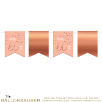 Girlande Flagbanner Happy 60th Elegant Lush Blush
