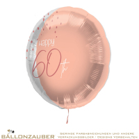 Folienballon Rund Happy 60th Elegant Lush Blush Metallic 45cm = 18inch